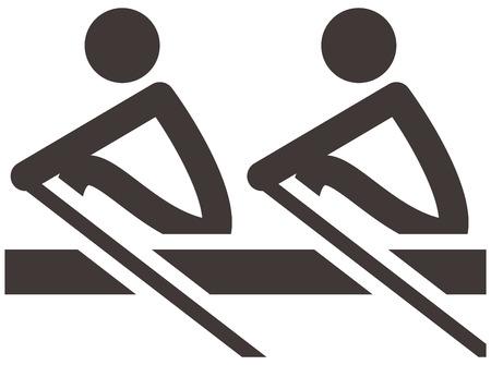 Summer sports icons set -  rowing icon Çizim