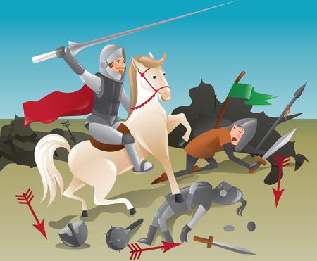 joust: Knight with lance on horseback - color illustration Illustration