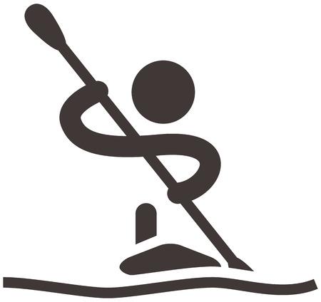 ocean kayak: Verano iconos deportivos - Remo y Piragüismo icono Vectores