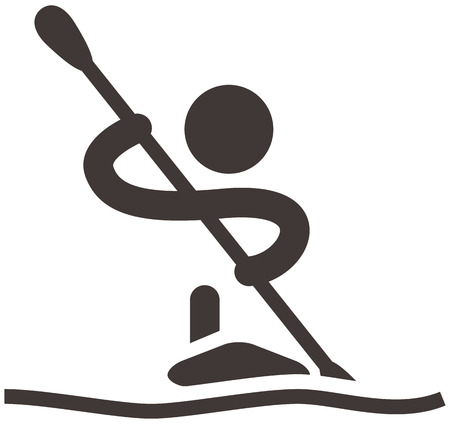 Zomersporten iconen - roeien en kanoën pictogram