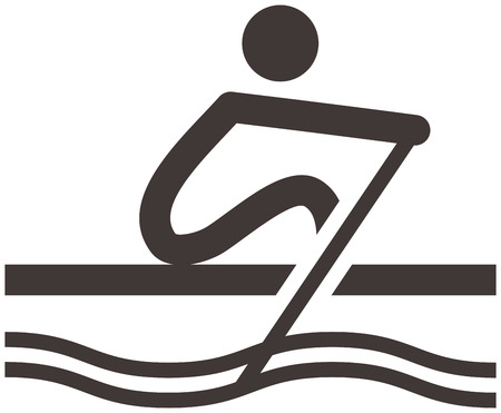 boat icon: Summer sports icons set - rowing icon