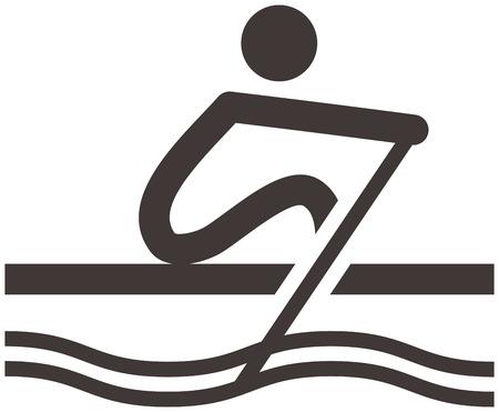 Zomer sport icons set - roei pictogram Stock Illustratie