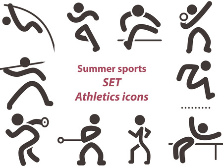 long jump: Summer sports icons -  set of athletics icons