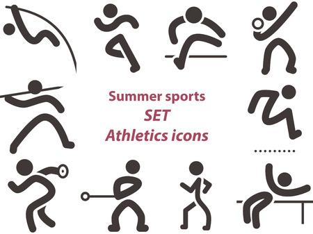 salto de longitud: Verano deportes iconos - conjunto de iconos de atletismo Vectores