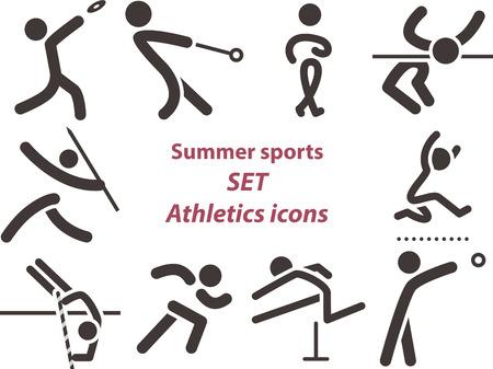 lanzamiento de jabalina: Verano iconos deportivos - conjunto de iconos de atletismo Vectores