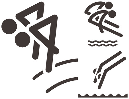 Summer sports icons set - synchronized diving icons Vector
