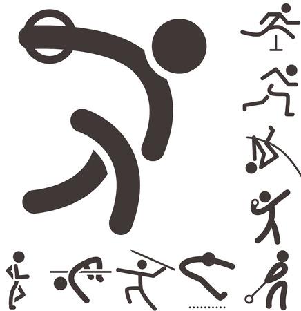 athletics: Summer sports icons -  set of athletics icons