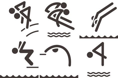 Summer sports icons set - diving icons Vector