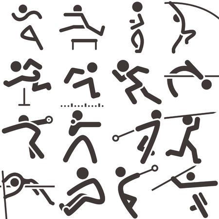 lanzamiento de disco: Verano iconos deportivos - conjunto de iconos de atletismo Vectores