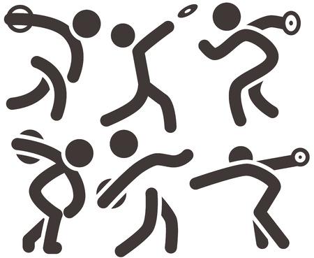 lanzamiento de disco: Verano iconos deportivos - iconos de lanzamiento de disco