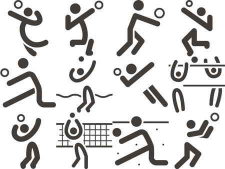 volleyball player: Summer sports icon - volleiball icons Illustration