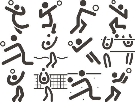 Summer sports icon - volleiball icons Ilustracja