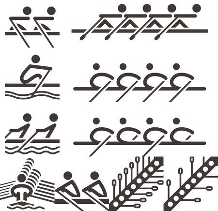 Zomer sport icons set - roei-iconen