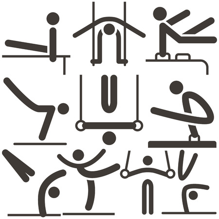 Summer sports icons set - Gymnastics Artistic icons