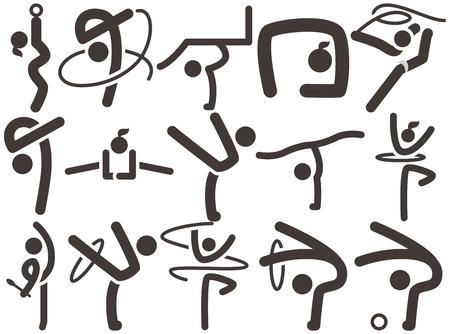 Iconos de los deportes de verano - iconos de Gimnasia rítmica Vectores
