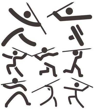 lanzamiento de jabalina: Verano de iconos de los deportes fijados - icono lanzamiento de jabalina Vectores