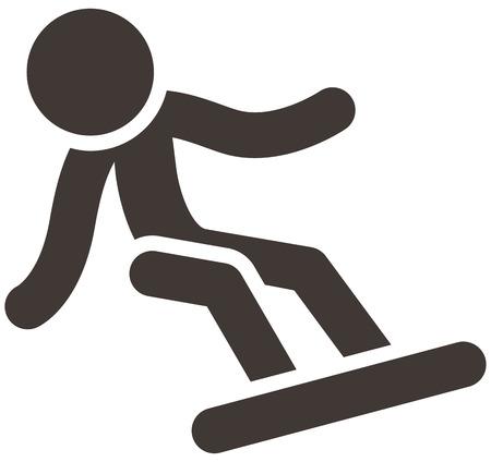winter sport: Winter sport icon - snowboard icon