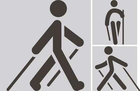 nordic walking pictogrammen instellen Stock Illustratie