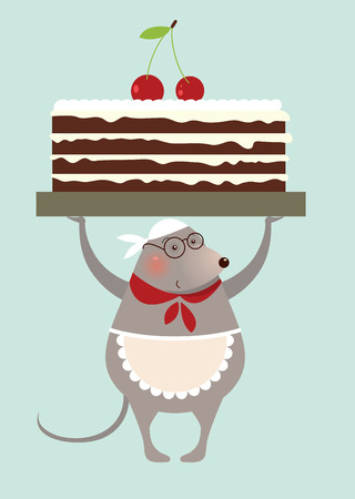 christmas cake: Christmas mouse cooke with cake - greeting card Illustration