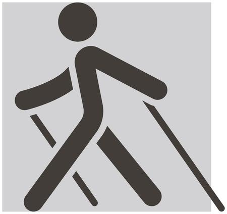 Zomer sport icons set - Nordic Walking pictogram