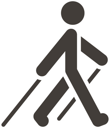 man hiking: Health and Fitness icons set - Nordic Walking icon Illustration