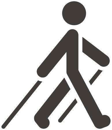 persona caminando: Salud y estado f�sico iconos conjunto - icono Nordic Walking