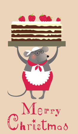 Christmas mouse cooke with cake - greeting card Vector