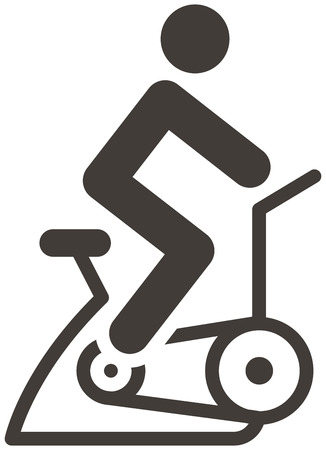 indoor: Fitness sports icons set - indoor cycling icon