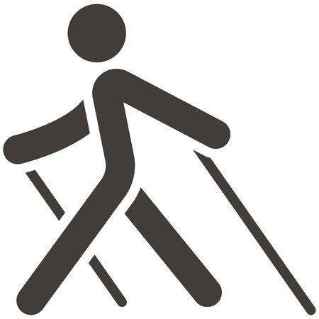 Health en Fitness icons set - Nordic Walking pictogram