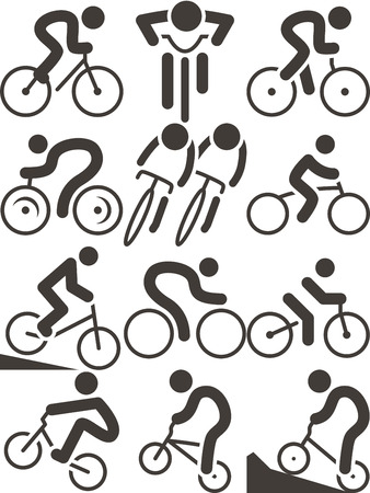 cyclist silhouette: Summer sports icons set - cycling icons Illustration