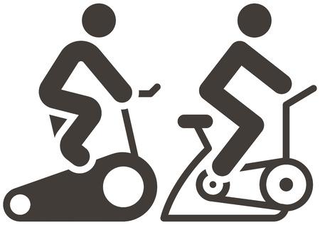 ciclismo: Iconos deportivos Gimnasio - iconos de ciclismo indoor Vectores