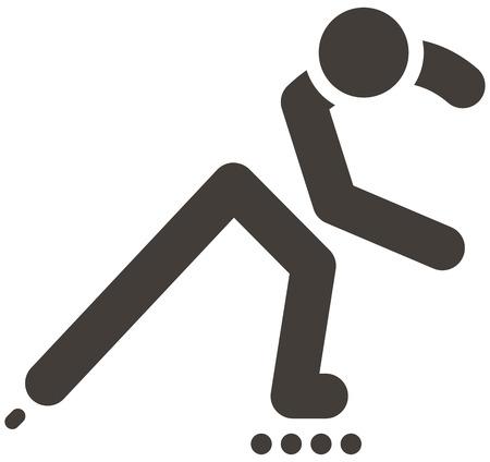 inline skater: Summer sports icons set - roller skates icon