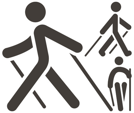Health and Fitness - Nordic Walking icons set Illustration