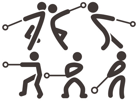 hammer throw: Summer sports icons - hammer throw icons Illustration