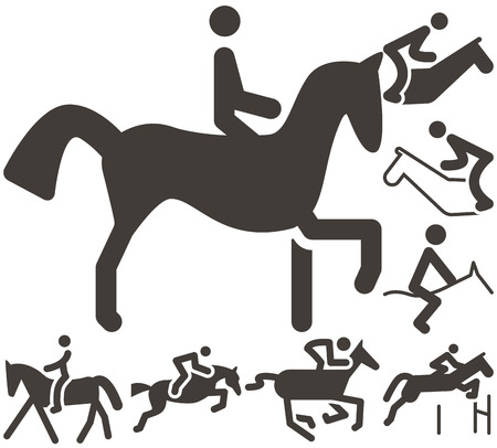 eventing: Summer sports icon set - equestrian icons