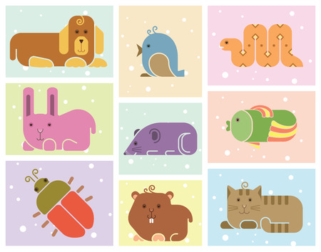 Zoo animals icons - stylized art background Vector