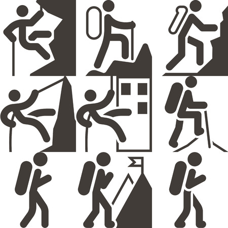 Extreme sports icon set - mountaineering icons