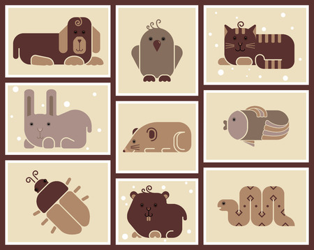Zoo animals icons - stylized background Vector