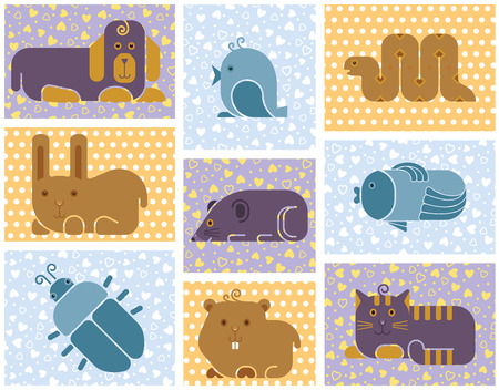 Zoo animals icons - stylized seamless background with used patterns Vector