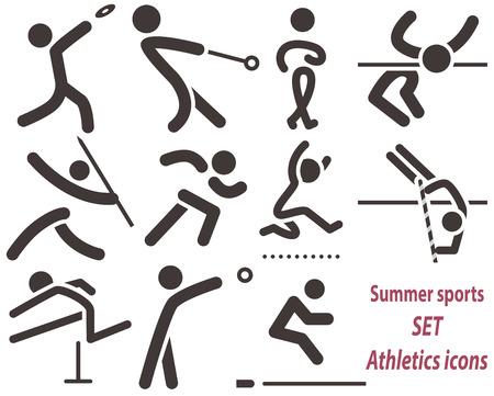 lanzamiento de disco: Iconos deportivos Sets - conjunto de iconos de atletismo. Todos los iconos están optimizados para tamaño 32x32 píxeles