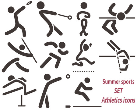 shot put: Summer sports icons sets -  set of athletics icons. All icons are optimized for size 32x32 pixels
