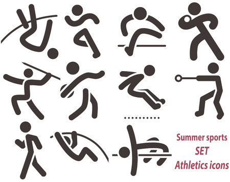 hammer throw: Summer sports icons -  set of athletics icons