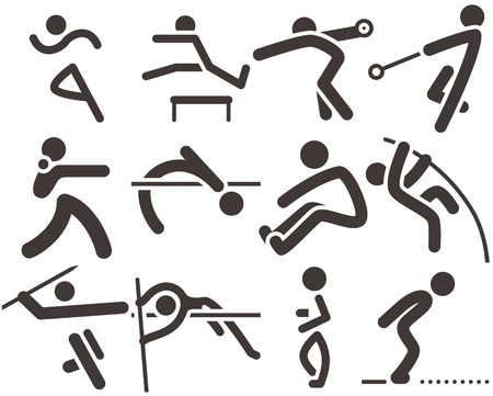 Summer sports icons -  set of athletics icons.All icons are optimized for size 32x32 pixels Vettoriali