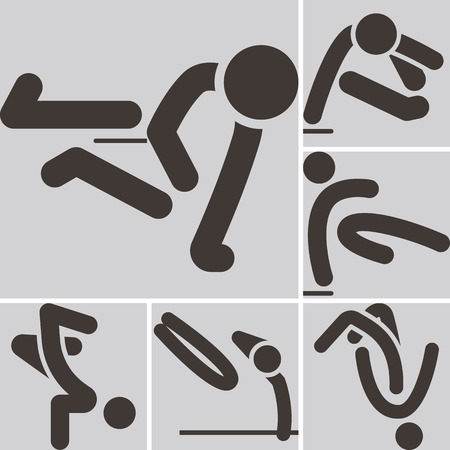 optimized: Extreme sports icon set - parkour icons set. All icons are optimized for size 32x32 pixels