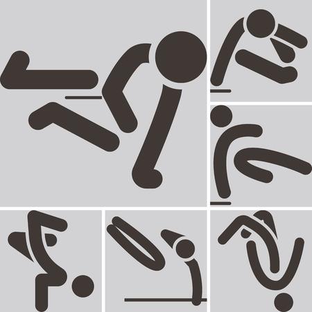 parkour: Los deportes extremos Icon Set - iconos parkour establecen. Todos los iconos est�n optimizados para tama�o 32x32 p�xeles