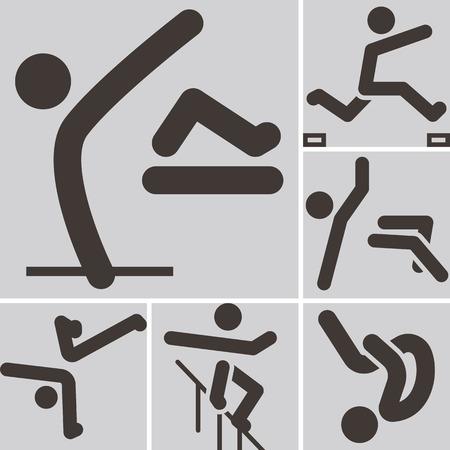 parkour: Extreme sports icon set - parkour icons set. All icons are optimized for size 32x32 pixels