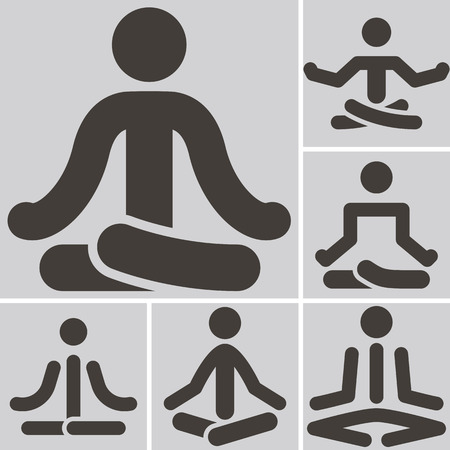 optimized: Health and Fitness icons set - yoga icons set. All icons are optimized for size 32x32 pixels Illustration