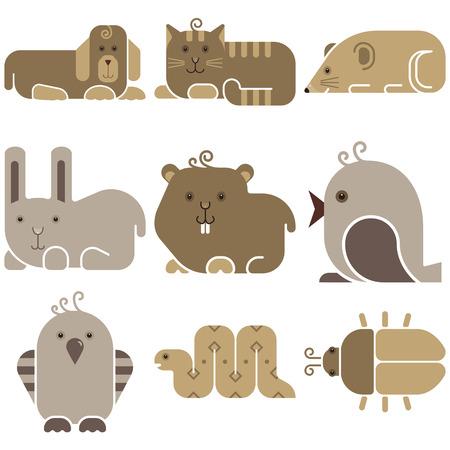 bugs bunny: Zoo animals icons set - stylized art animals silhouettes