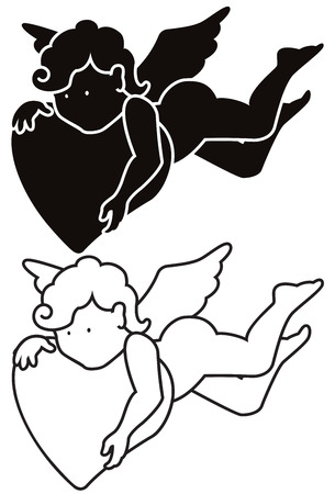 cute angel: Cartoon angel - isolated funny cupid with heart.  Silhouette and outline Valentines day or wedding illustrations