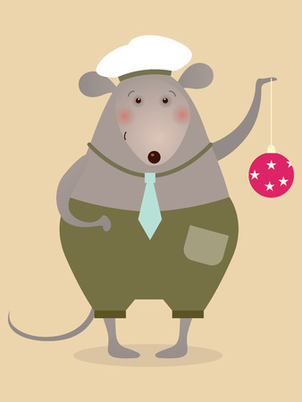 boll: Mouse sailor with boll - illustration for greeting card